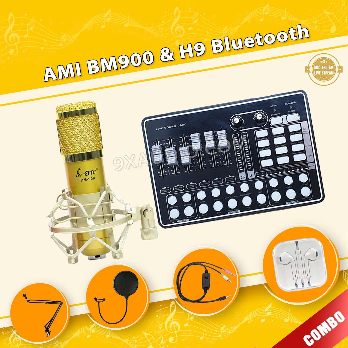 mic thu âm ami bm900 h9 pro 9xaudio