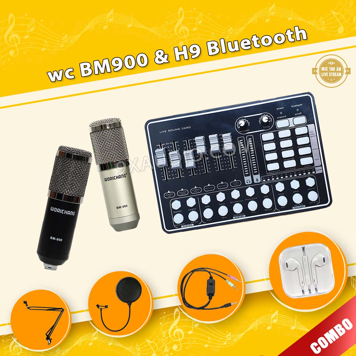 mic thu âm bm900 h9 pro f
