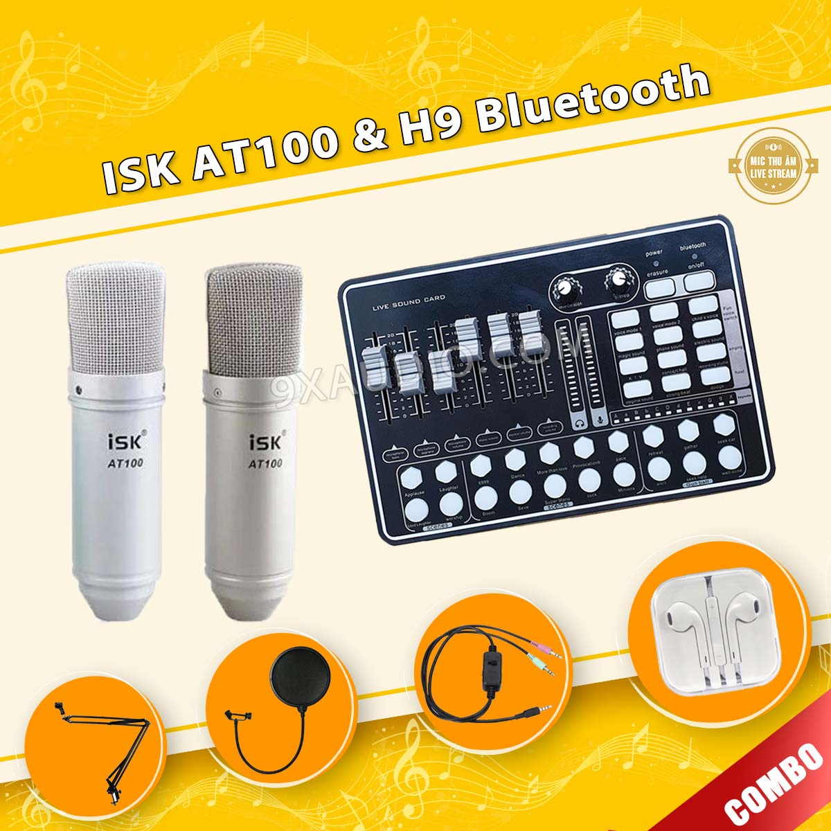mic thu âm isk at100 h9 bluetooth 9xaudio