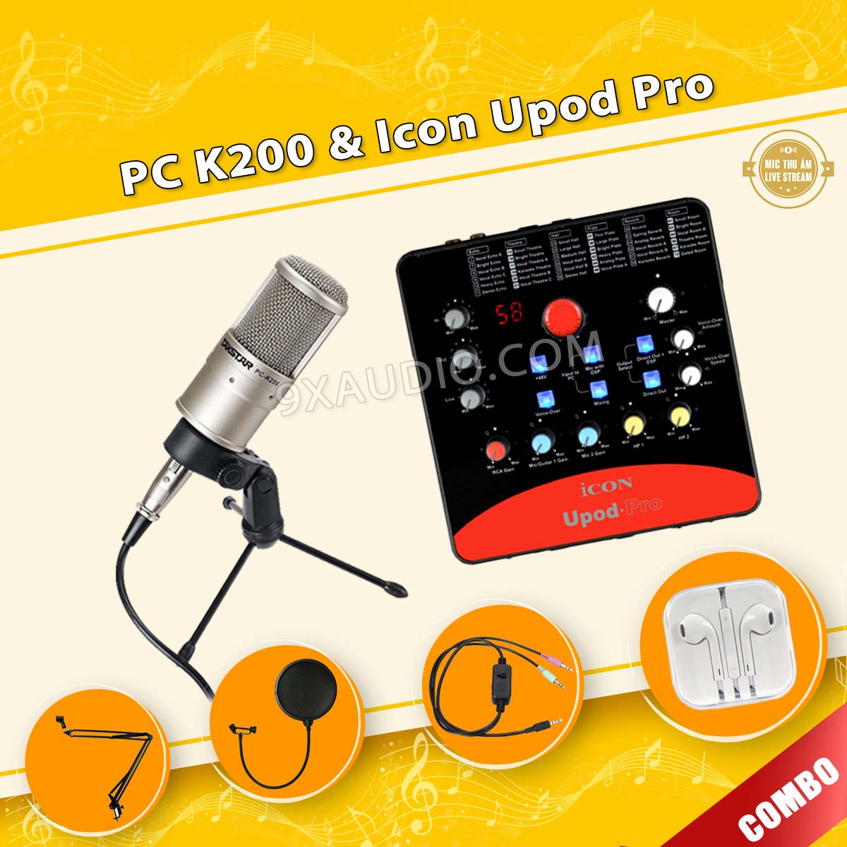mic thu âm pc k200 icon upod pro full