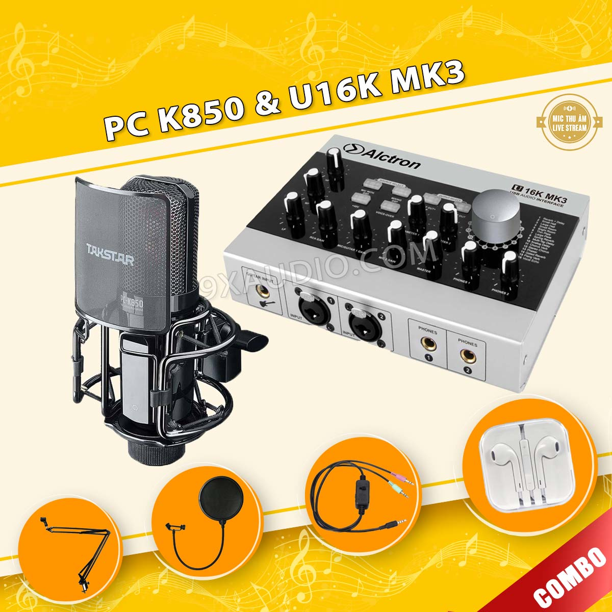 mic thu âm pc k850 u16k mk3 full
